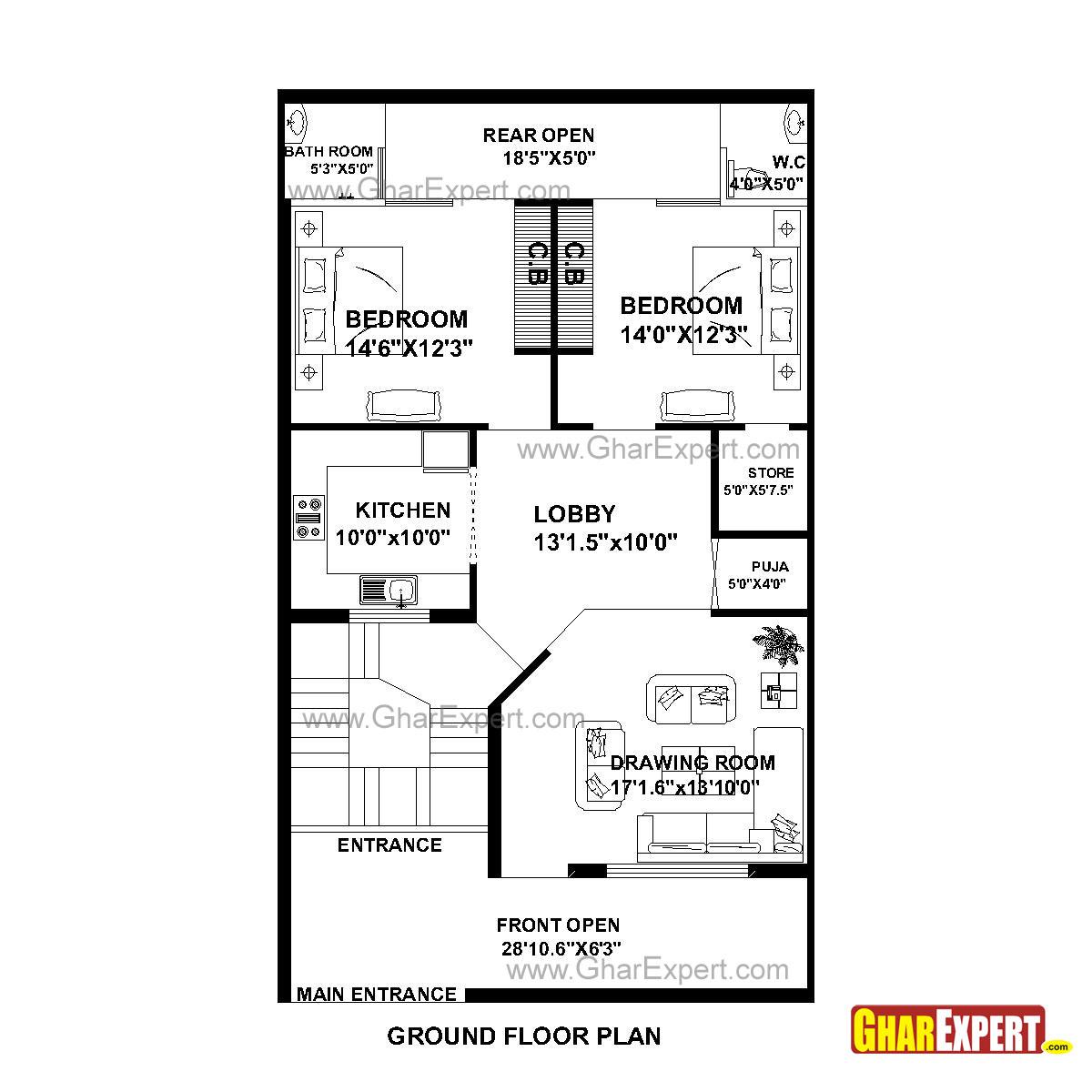 House Plan For 30 Feet By 51 Feet Plot Plot Size 170