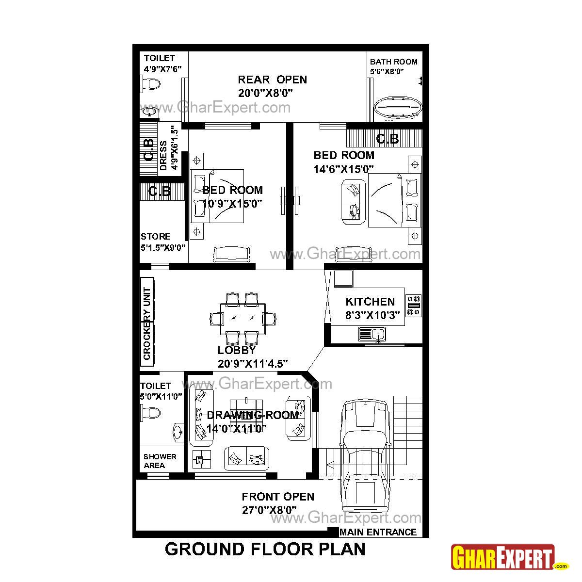 House Plan For 33 Feet By 55 Feet Plot Plot Size 202