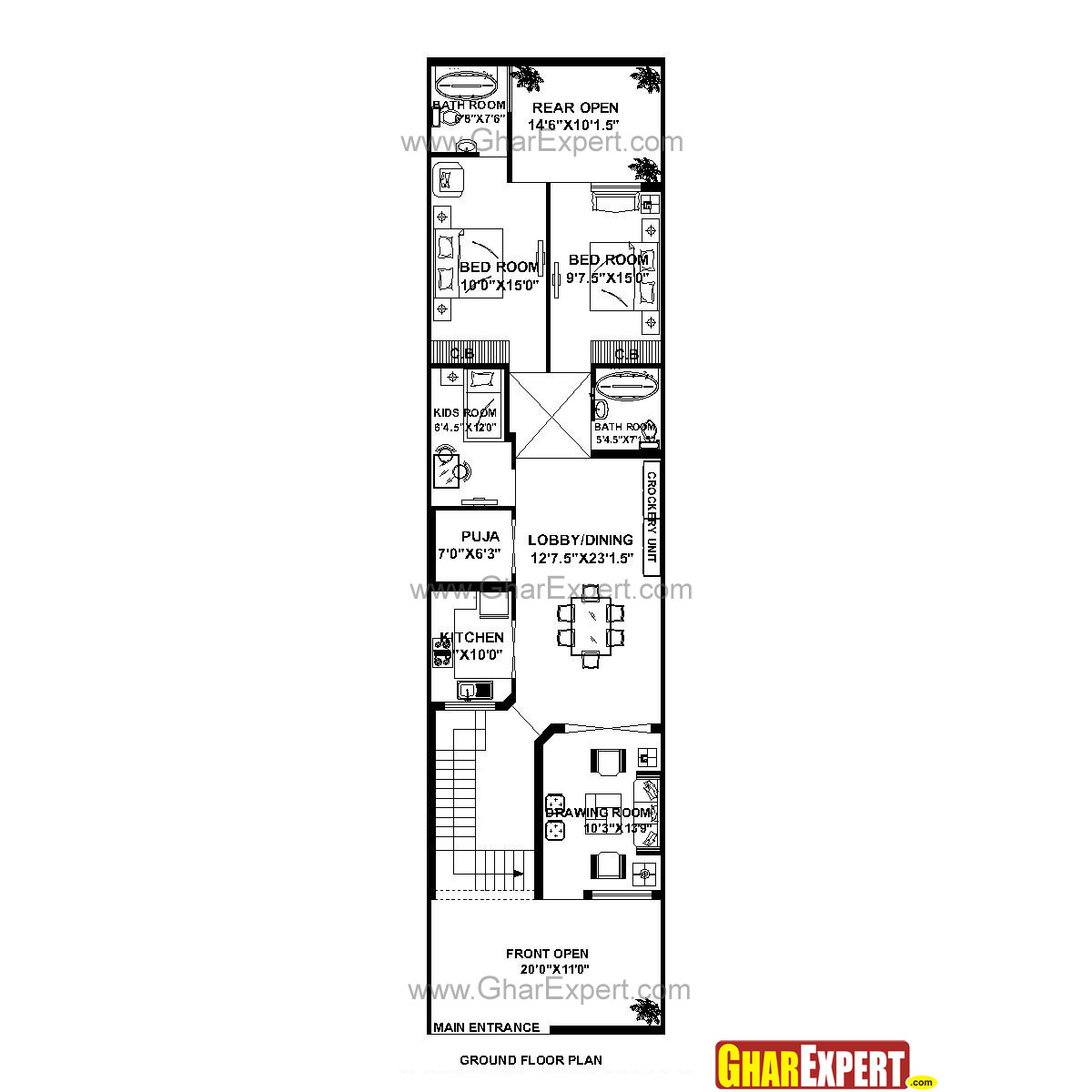 House Plan For 21 Feet By 85 Feet Plot Plot Size 198