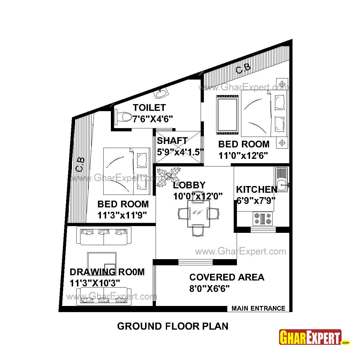 House Plan for 30 Feet by 35 Feet plot (Plot Size 117