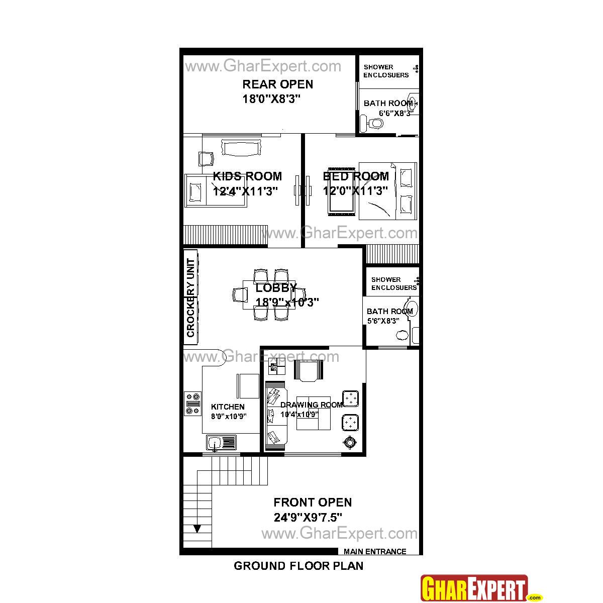 House Plan for 25 Feet by 53 Feet plot (Plot Size 147