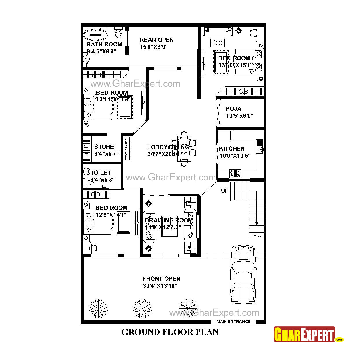 House Plan for 41 Feet by 66 Feet plot (Plot Size 301