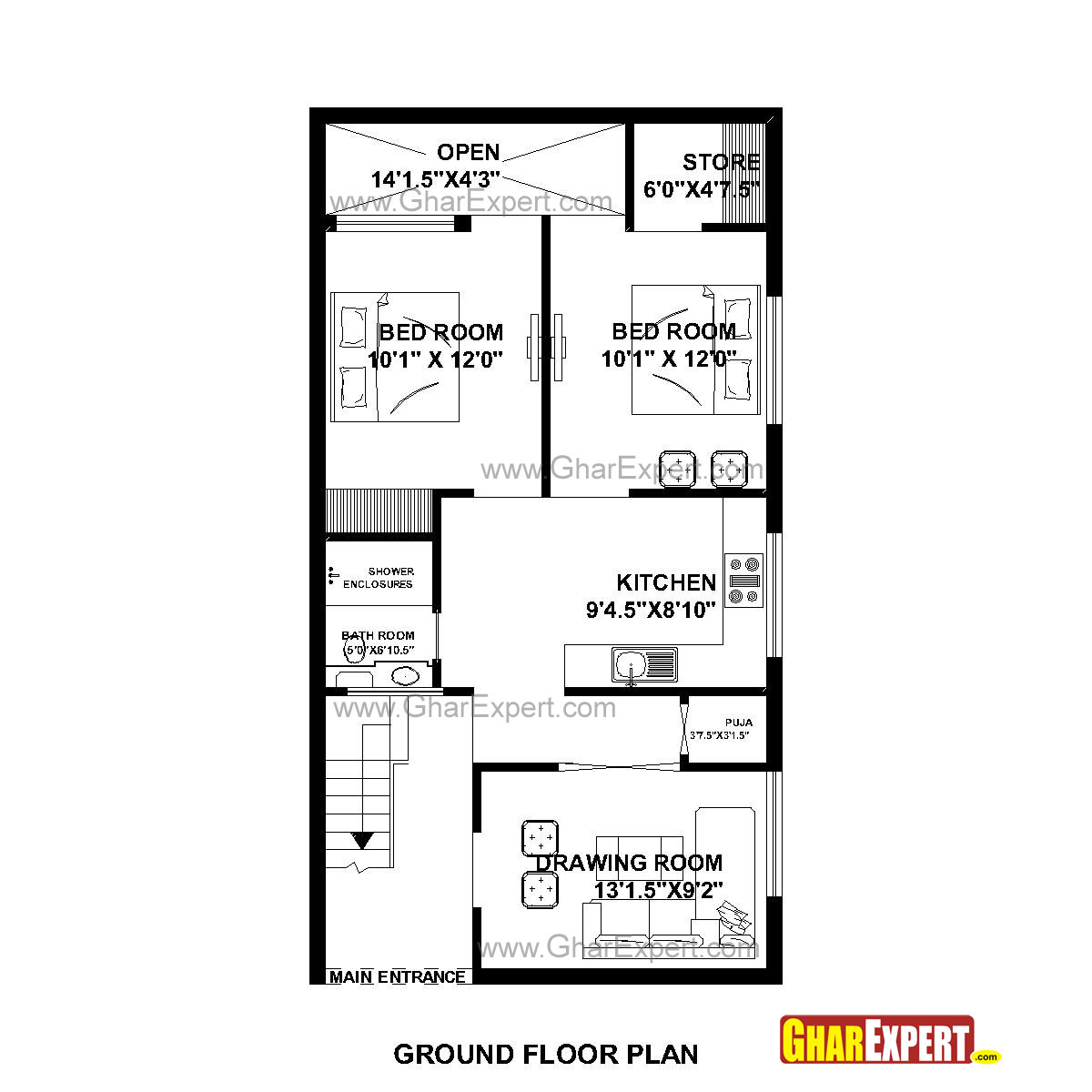 House Plan for 23 Feet by 45 Feet plot (Plot Size