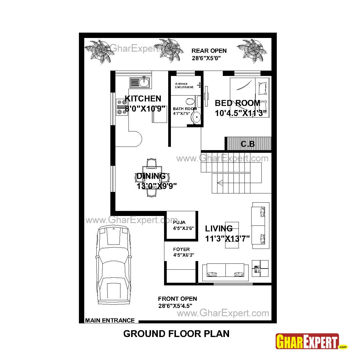 House Plan for 30 Feet by 44 Feet plot (Plot Size 147