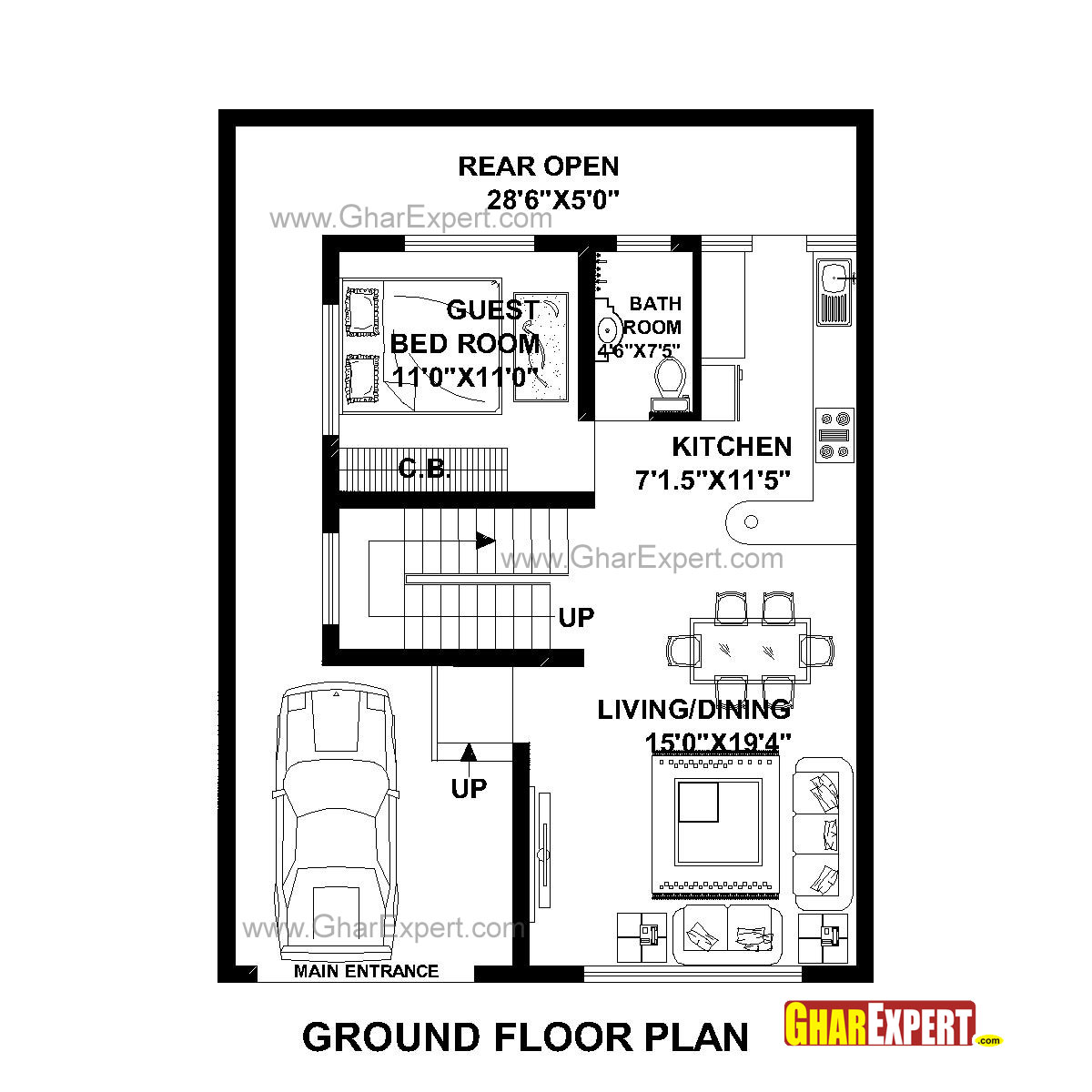 House Plan for 30 Feet by 40 Feet plot (Plot Size 133