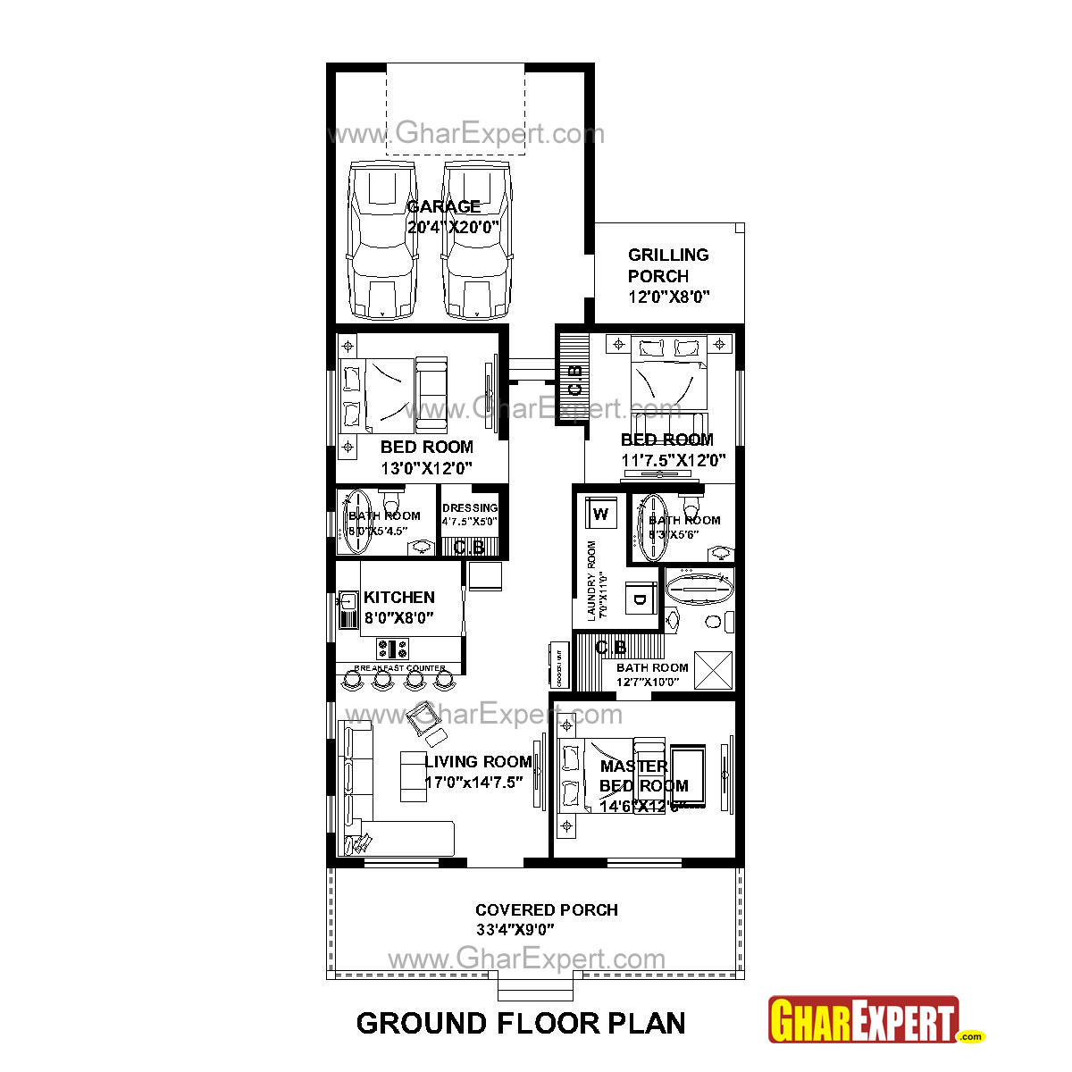 House Plan for 33 Feet by 73 Feet plot (Plot Size 268