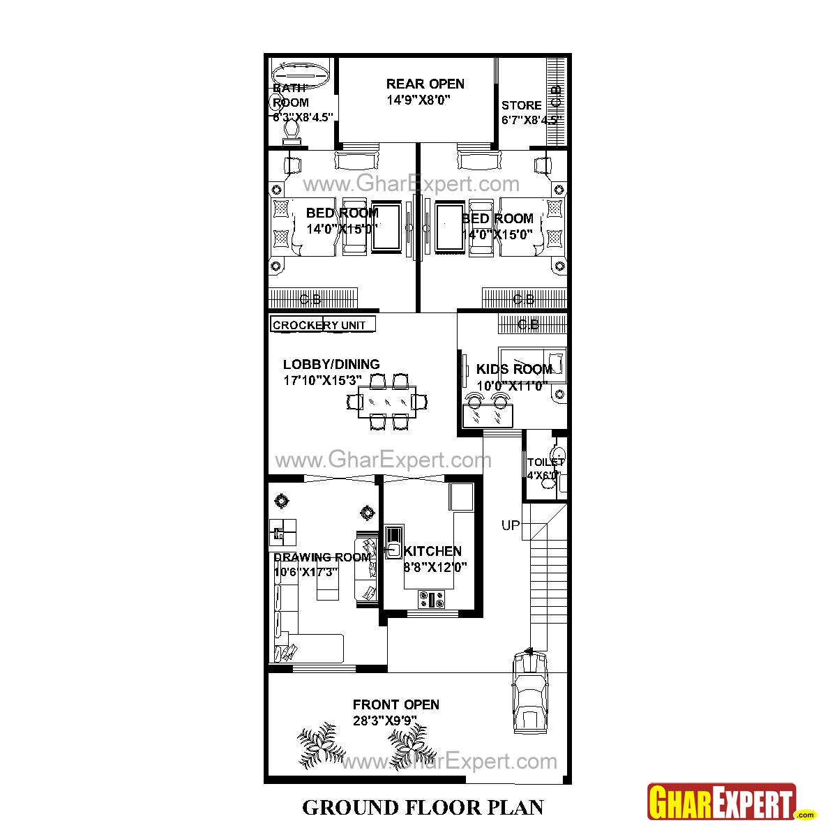 House Plan for 29 Feet by 69 Feet plot (Plot Size 222