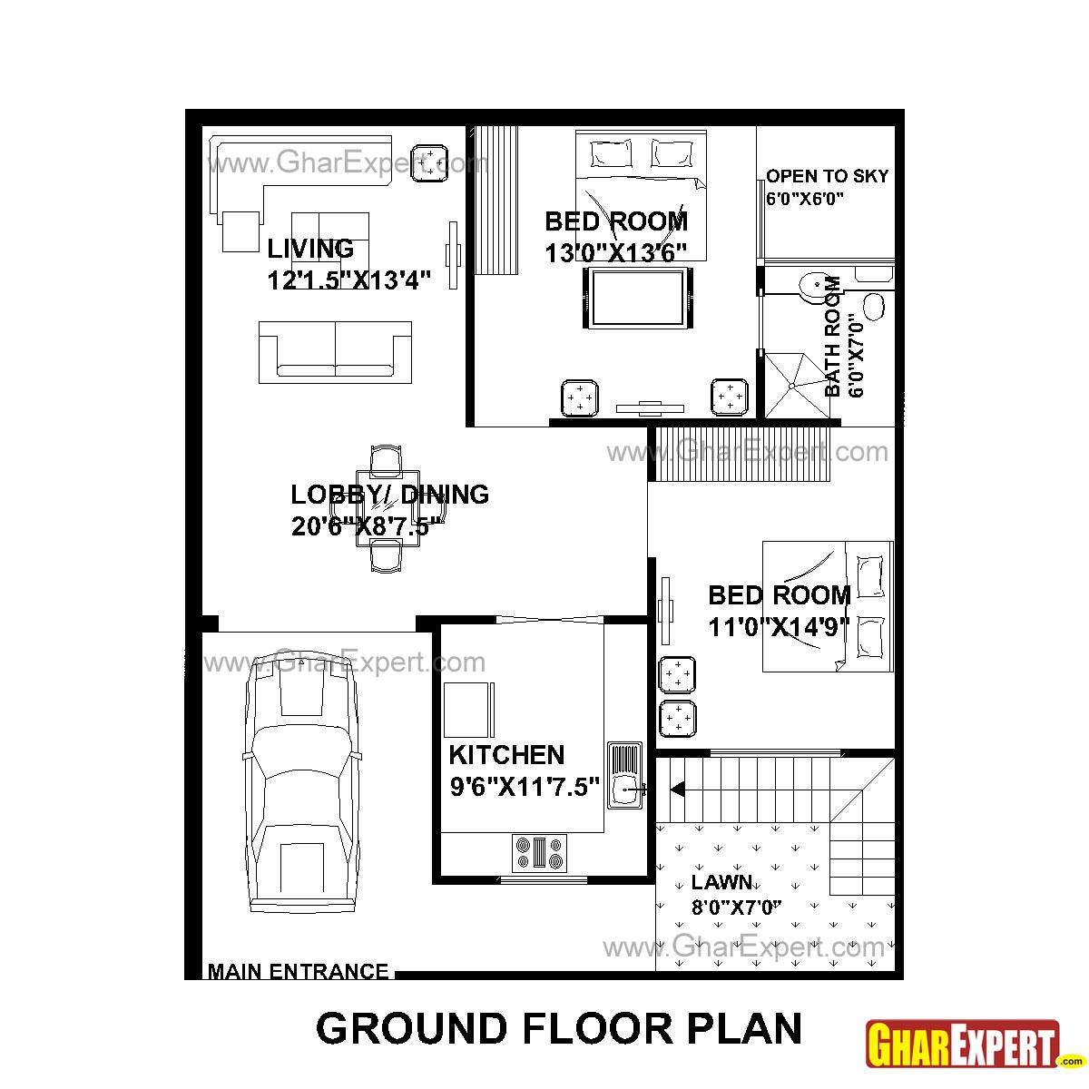House Plan for 33 Feet by 40 Feet plot (Plot Size 147