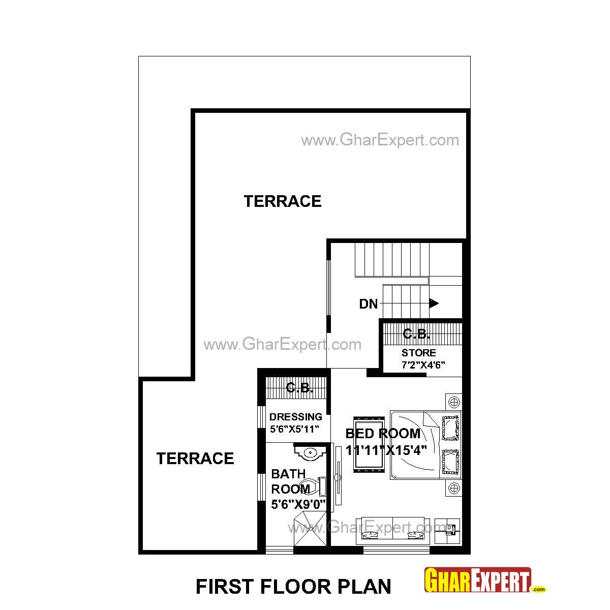 House Plan for 30 Feet by 45 Feet plot (Plot Size 150