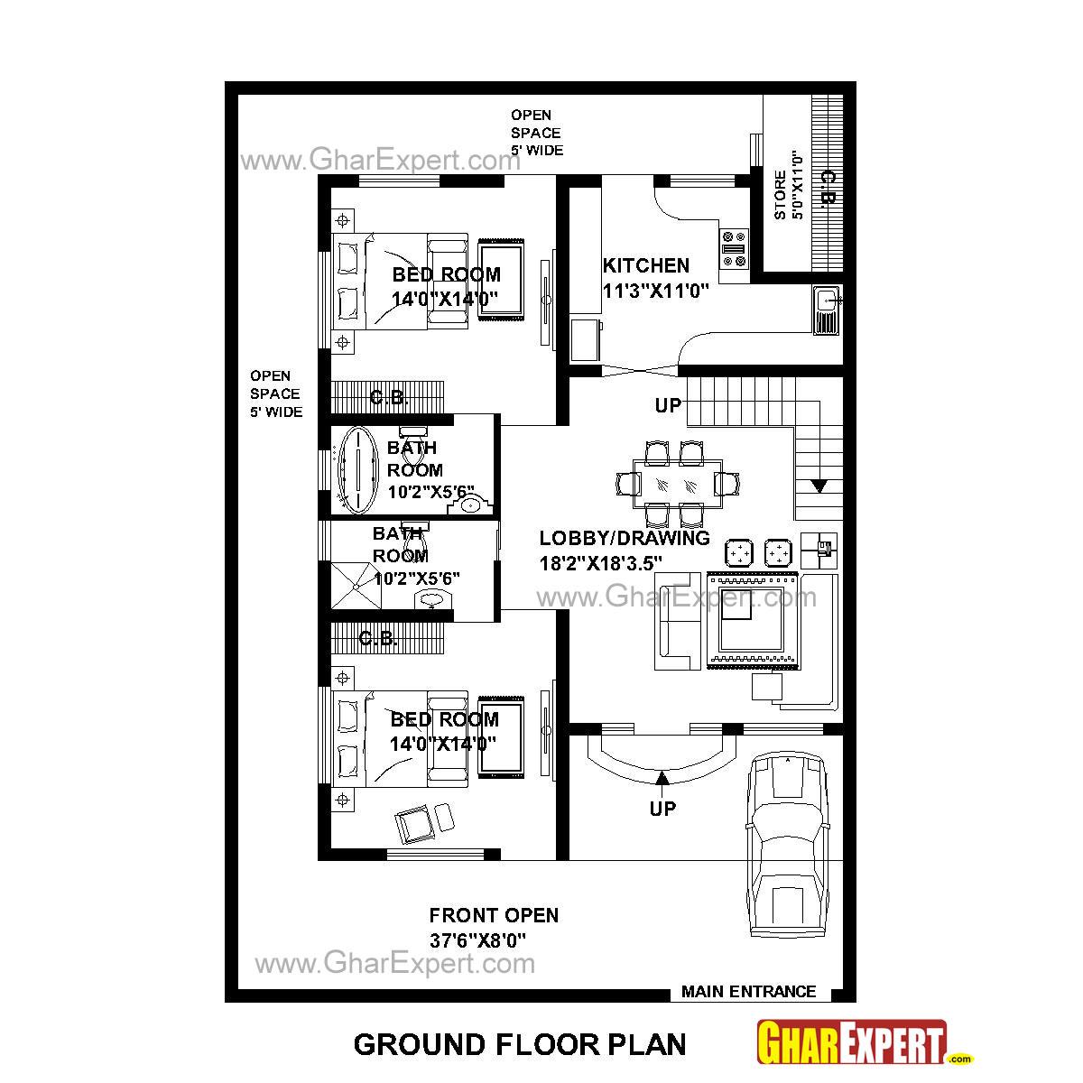 House Plan For 39 Feet By 57 Feet Plot Plot Size 247
