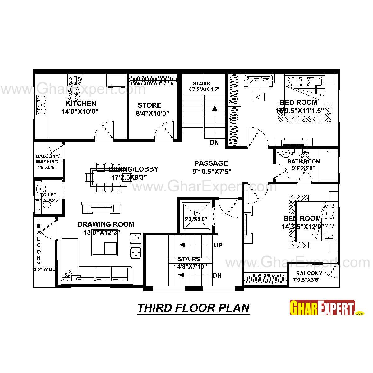 House Plan for 40 Feet by 30 Feet plot (Plot Size 133