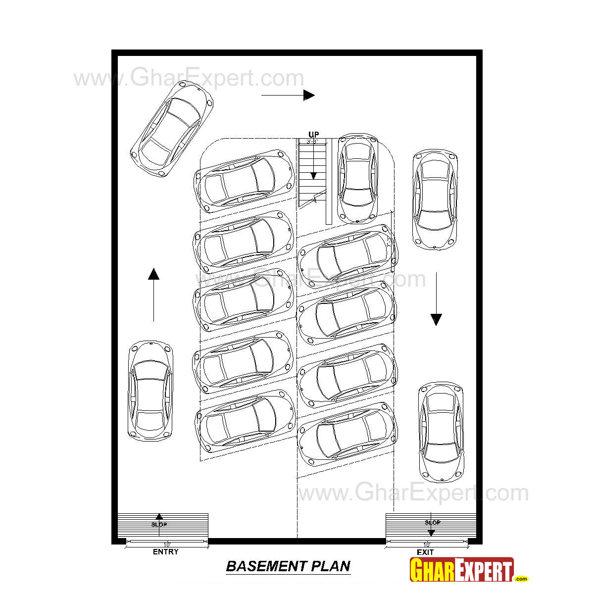 Apartment Plan for 45 Feet by 60 Feet plot (Plot Size 300