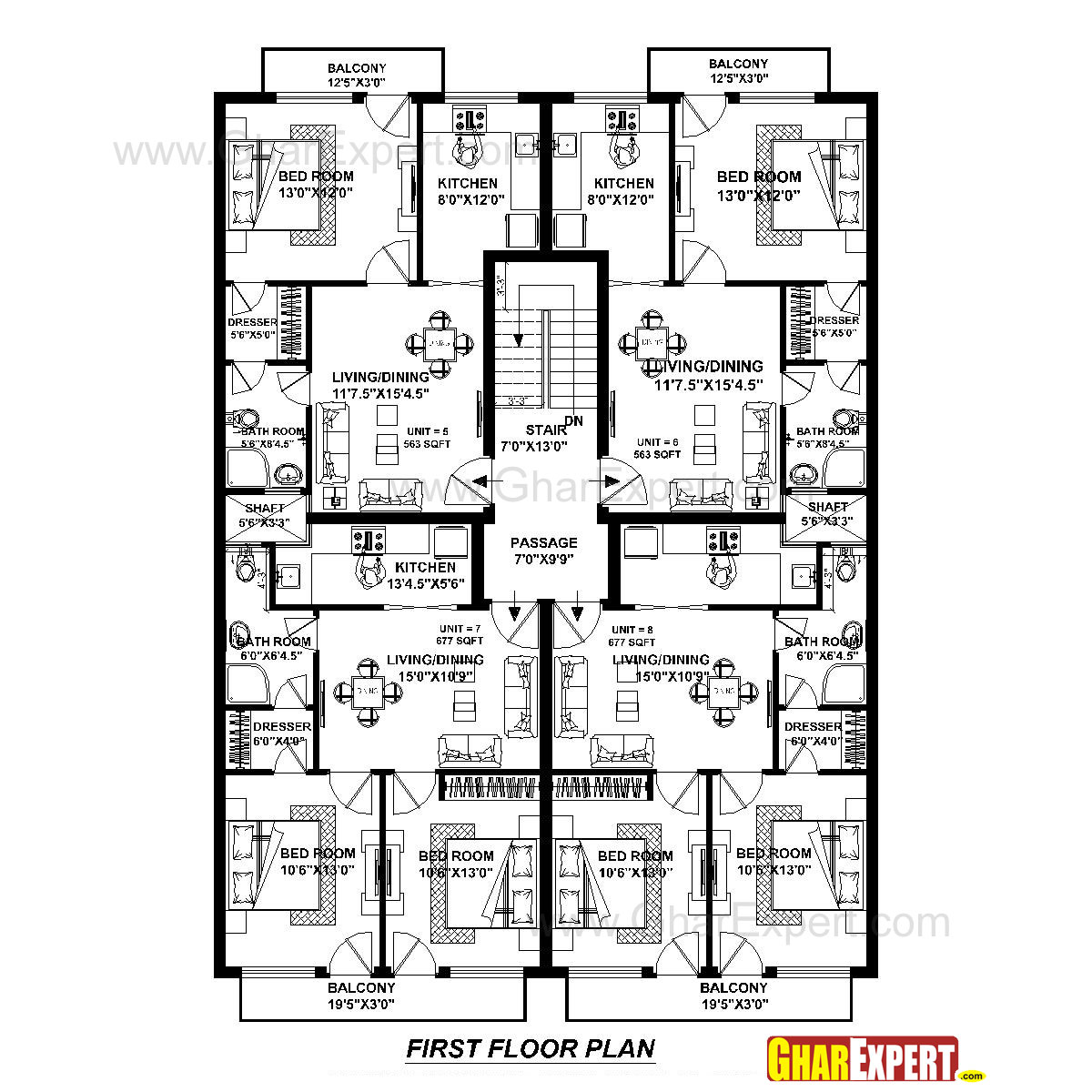 Apartment Plan for 45 Feet by 60 Feet plot (Plot Size 300