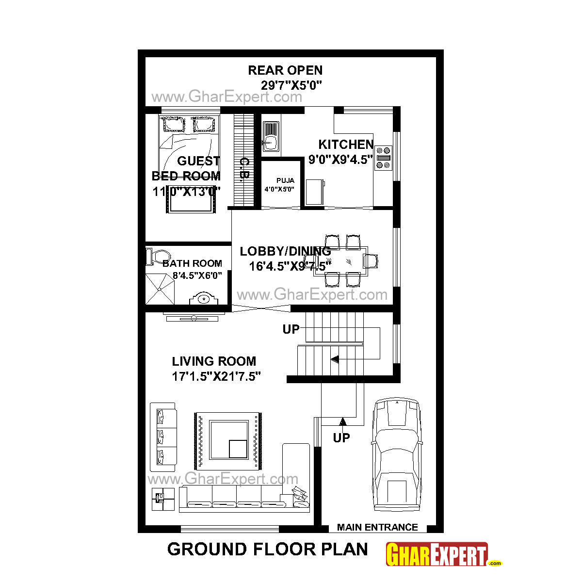 House Plan for 31 Feet by 49 Feet plot (Plot Size 169