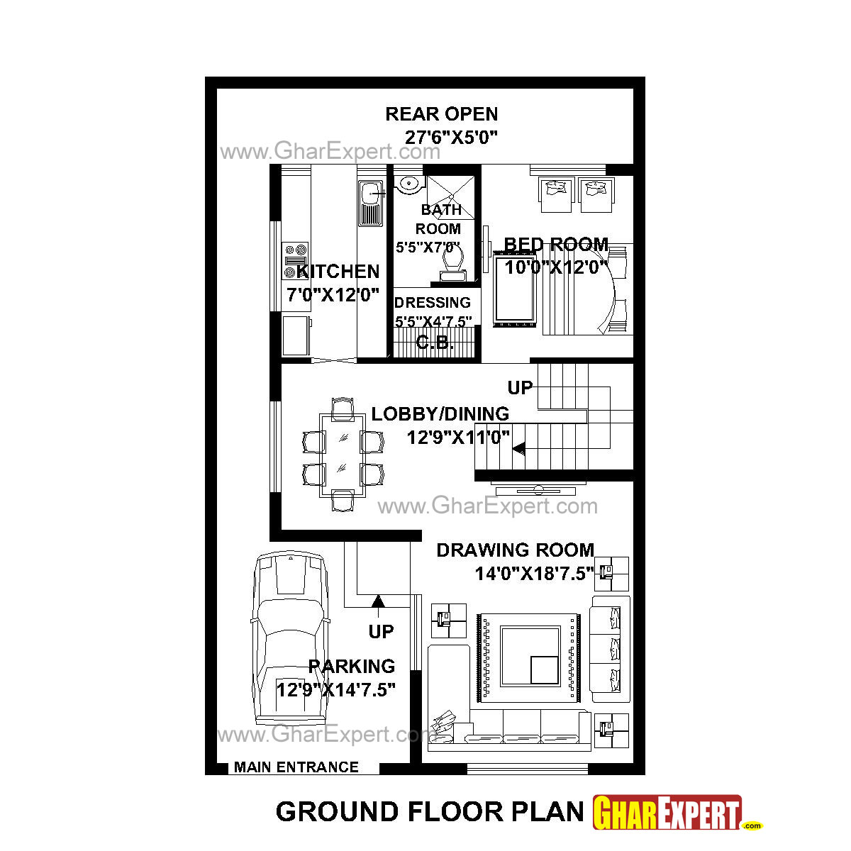 House Plan for 29 Feet by 46 Feet plot (Plot Size 148