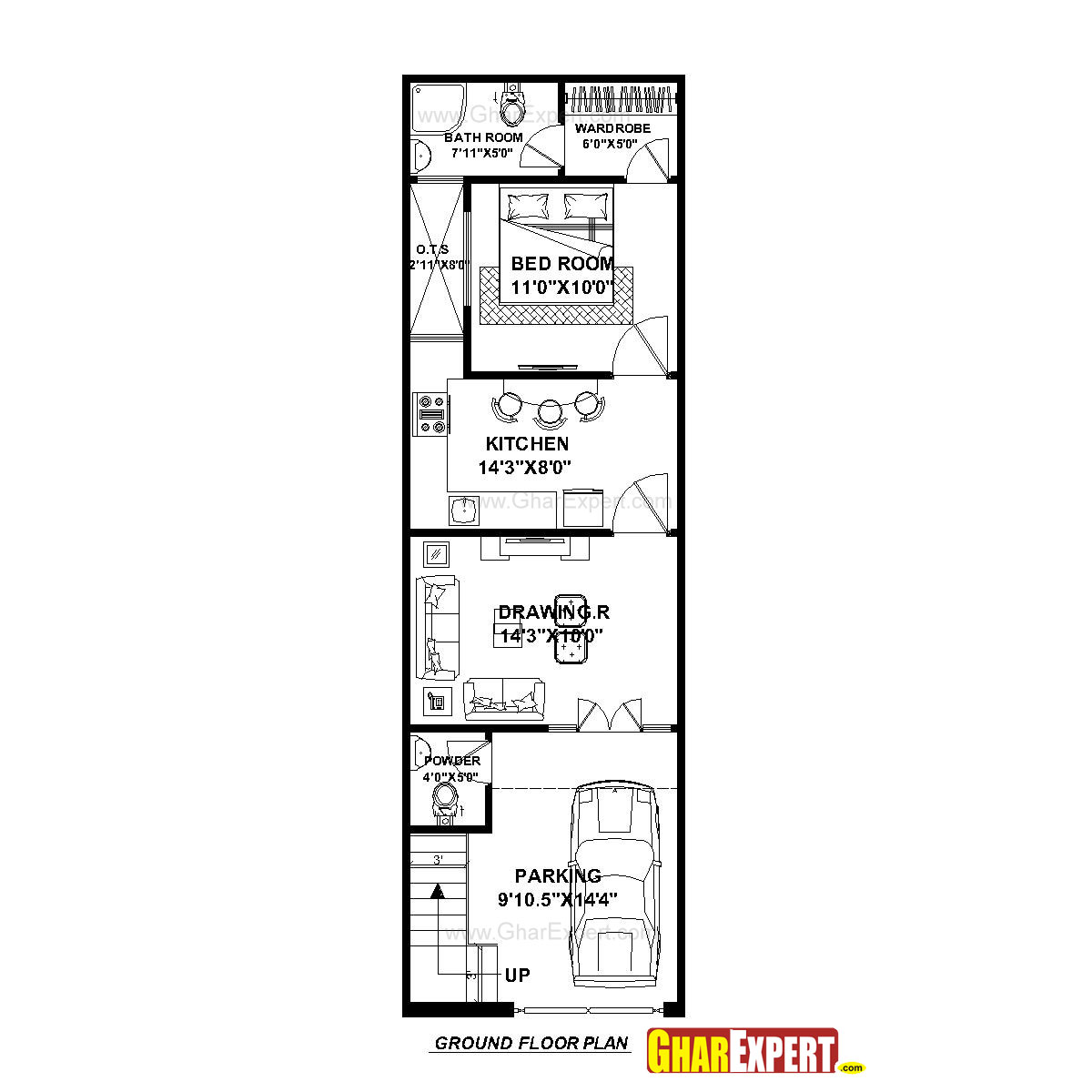 House Plan for 15 Feet by 50 Feet plot (Plot Size 83