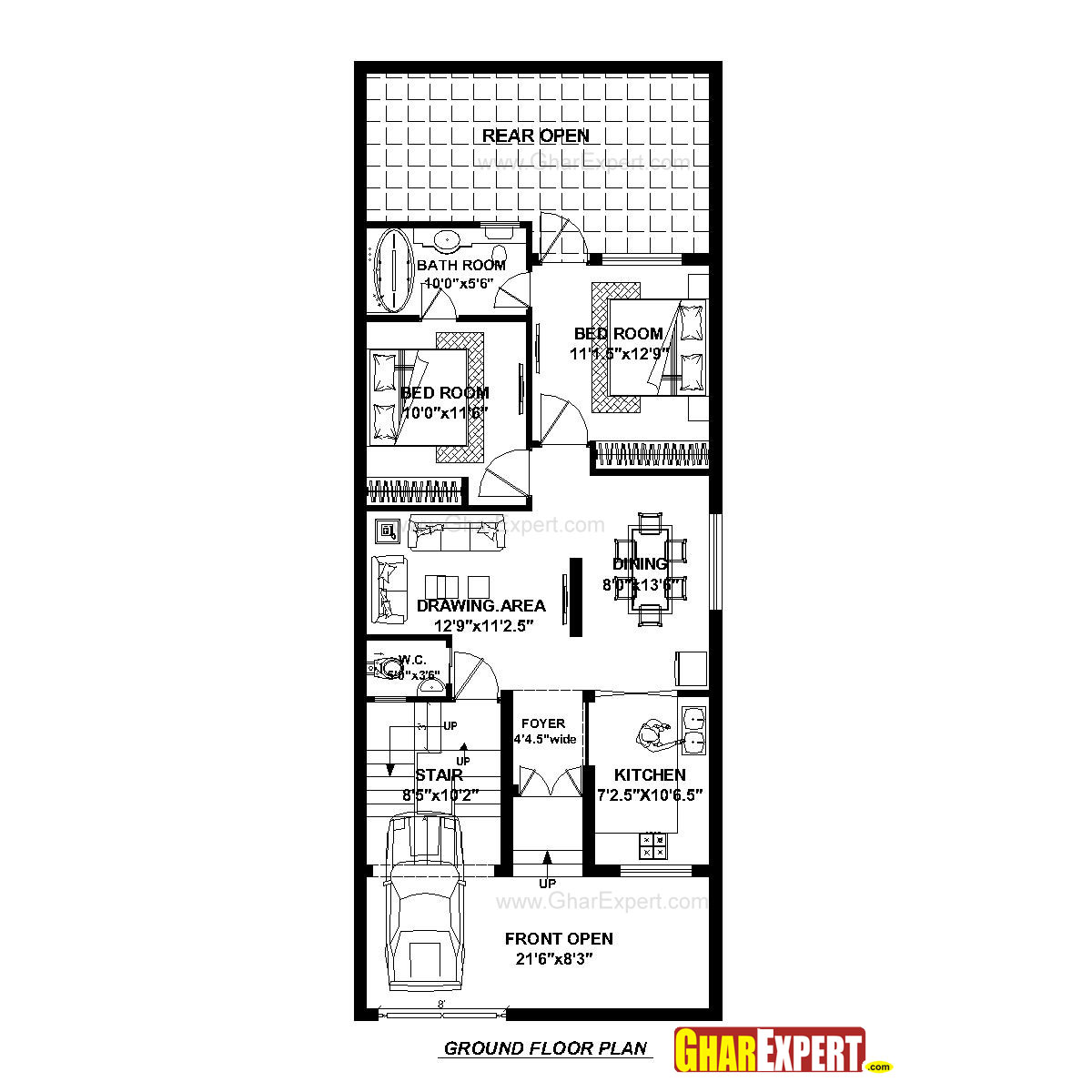 House Plan for 23 Feet by 60 Feet plot (Plot Size 153