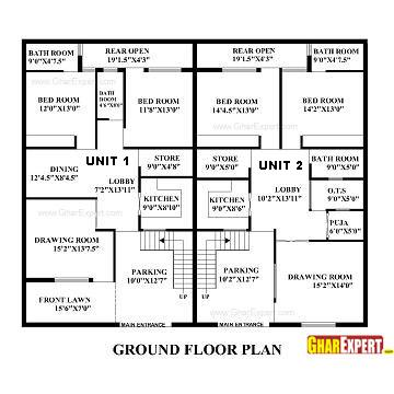 House Plan for 60 Feet by 50 Feet plot (Plot Size 333
