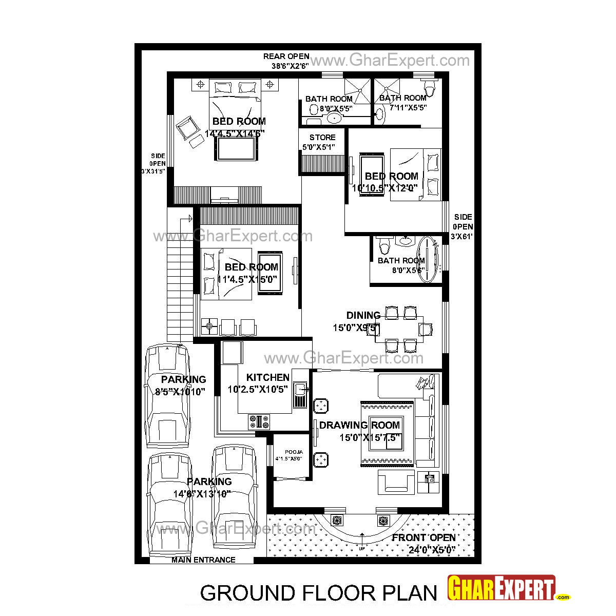 House Plan For 40 Feet By 60 Feet Plot Plot Size 267