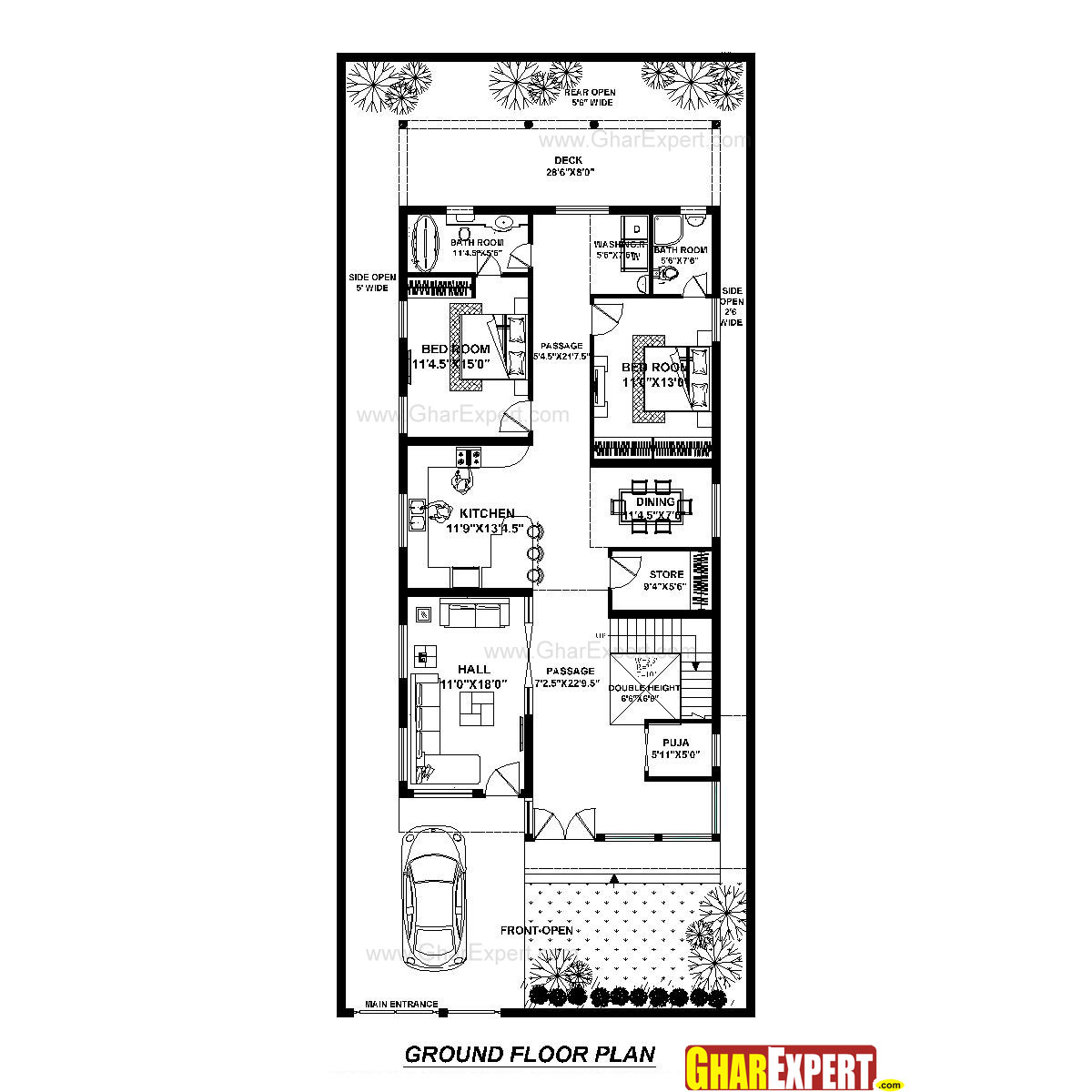 House Plan for 39 Feet by 90 Feet plot (Plot Size 153