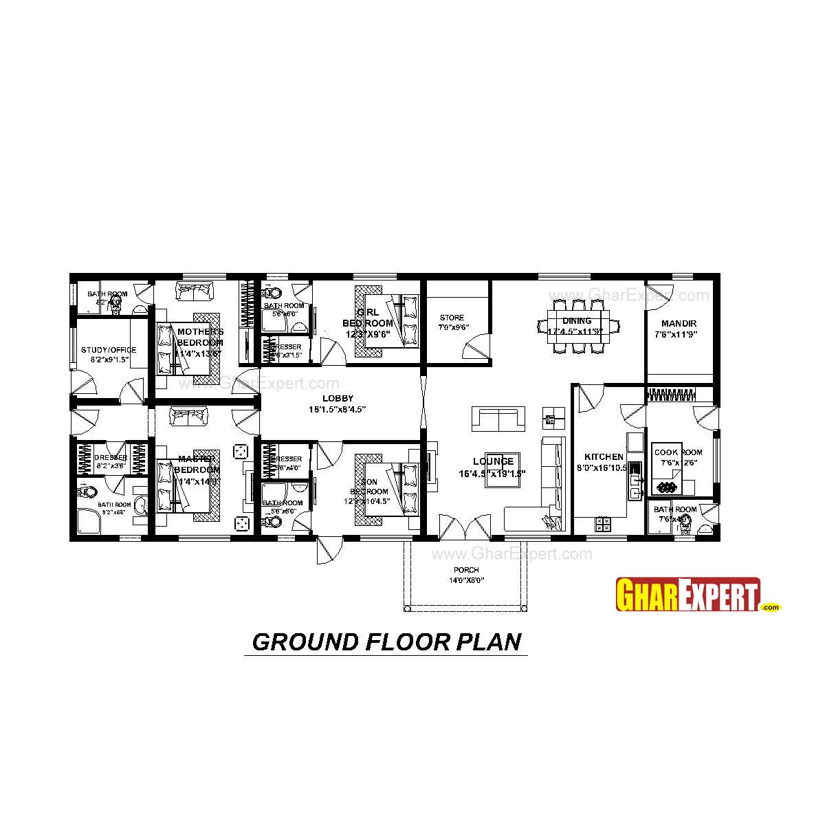 House Plan For 74 Feet By 31 Feet Plot Plot Size 255