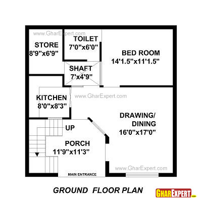 House Plan for 30 Feet by 30 Feet plot (Plot Size 100