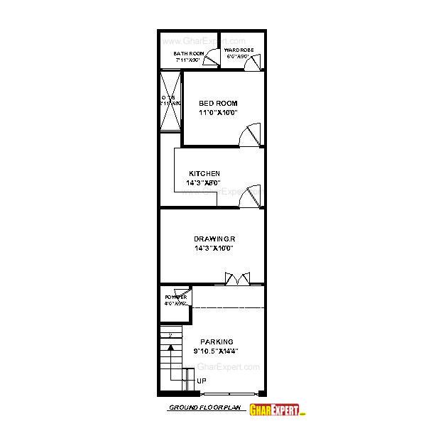 House Plan for 15 Feet by 50 Feet plot (Plot Size 83