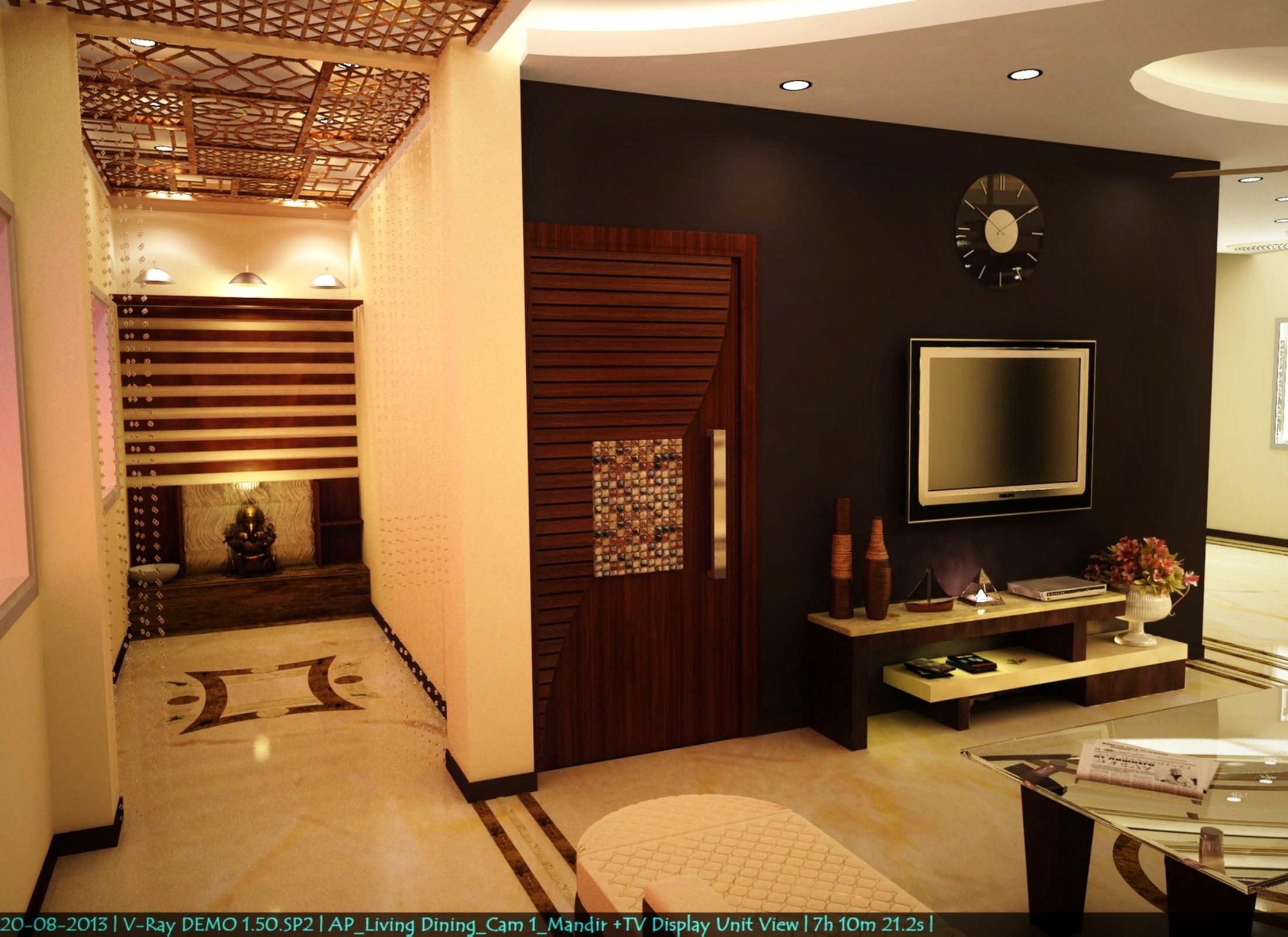 simple pop ceiling designs for living room in india interior design of small indian mandir n tv unit view - gharexpert