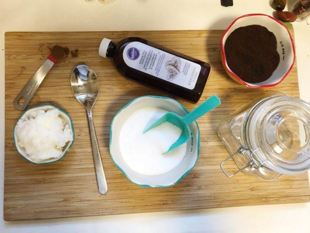 ingredients for a DIY coffee scrub