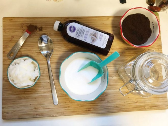 ingredients for a DIY coffee scrub