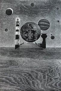 Secret of the Sand..Woodcut. 92cm-61cm. 2016