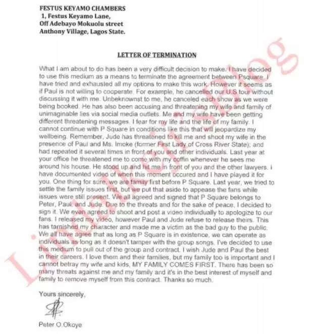 P Square letter of termination