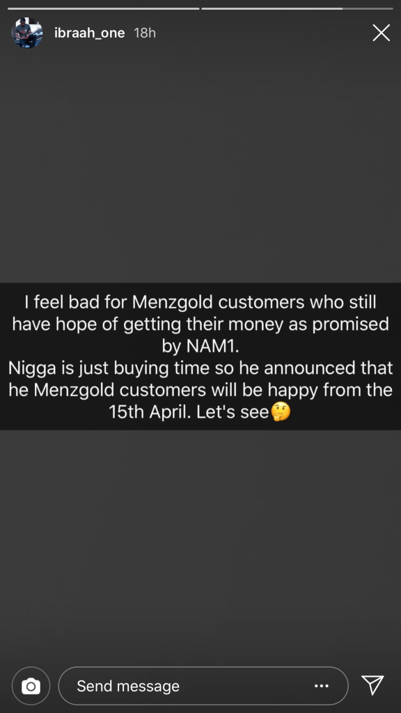 """B0DC3A13 2DDA 48D6 8265 98DD43CE91A8 - """"I Feel Bad For Menzgold Customers Because They Won't Get Their Money On April 15th As Promised By NAM1""""- Ibrah One"""