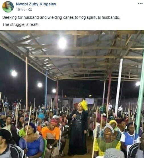 """spiritual cane2 - Single women bring canes to church to flog out """"spiritual husbands"""" from their lives (Photos)"""