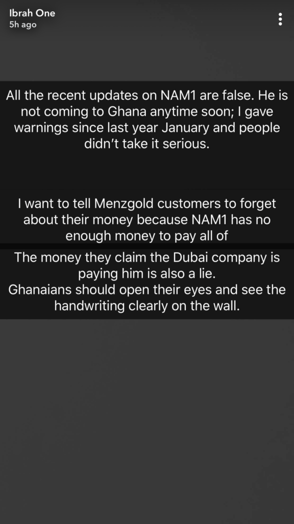 "21685454 89B7 46C7 96F5 E1CA103EDA09 576x1024 - ""You Don't Even Have $100,000 On You"" – Ibrah Suggests NAM1 Is Very Broke Plus Makes More Allegations (Screenshots)"