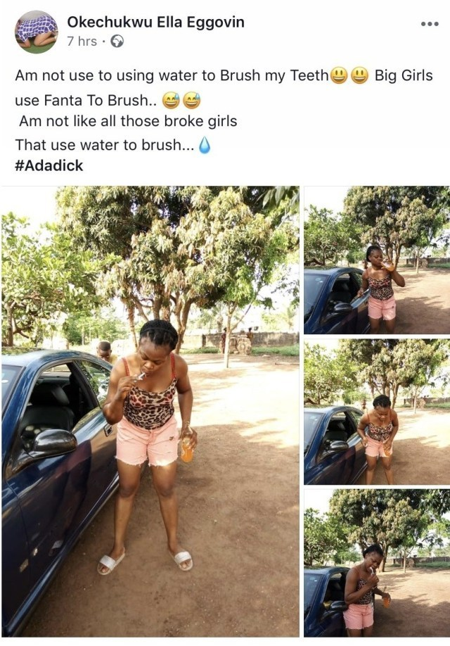 FANTA - Lady Brushes Teeth With Fanta, Says Those Who Use Water Are Broke