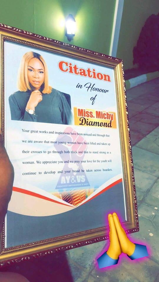 michy 1 - Michy Receives A Citation From African Young & Vibrant Seminar For Motivating Young Women