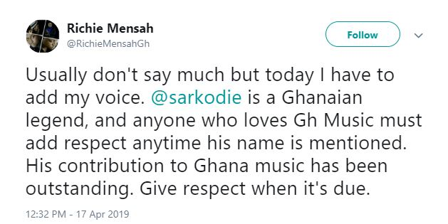 richie sark - Sarkodie is a legend, his name must be respected anywhere it is mentioned – Richie Mensah shower praises on Sarkodie