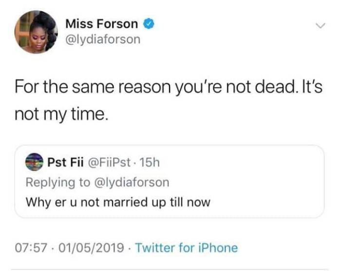 Lydia Forson - Read The Savage Reply Lydia Forson Gave To A Fan Who Asked Why She's Not Married