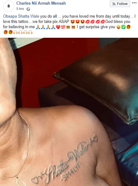 obaapa shatta wale 2 - Shatta Wale reacts after a loyal female fan tattoos his name on her bre@st (Photo)