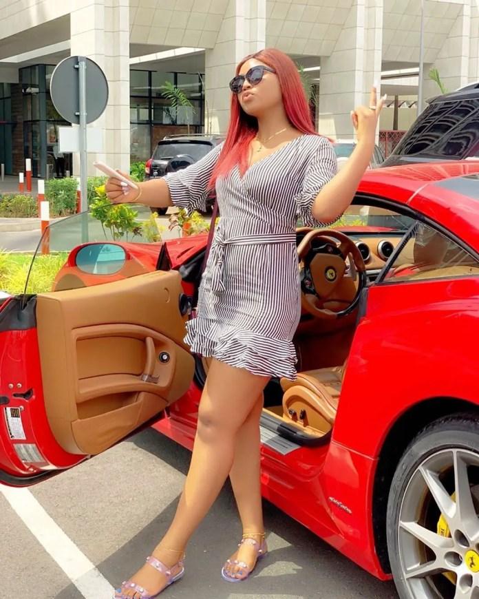 regi 1 - Photos: Regina Daniels Flaunts Husband's Customized Ferrari