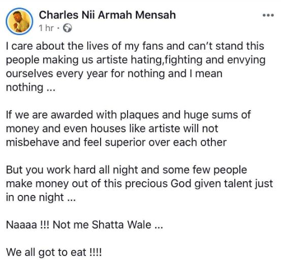 shatta wale post - Shatta Wale hits back at Charterhouse after banning and stripping him off his awards (Screenshot)