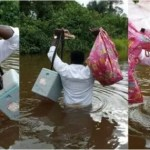 Ghanaian nurse crosses a big river by foot in order to deliver healthcare to villages in Juaboso district