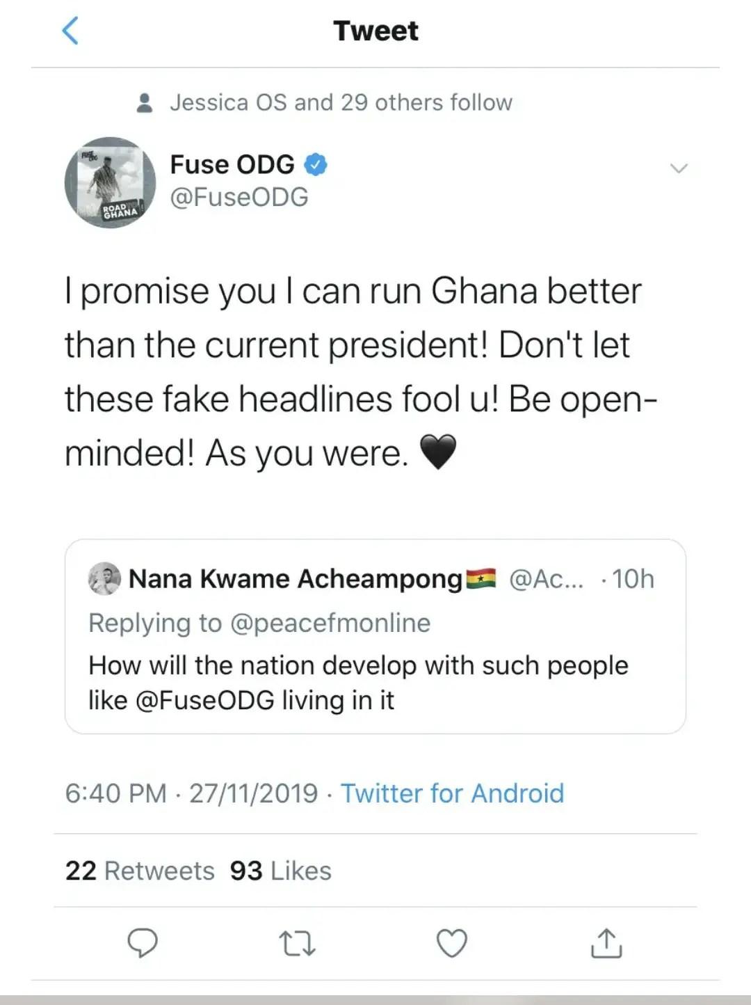 Fuse ODG Claims That He Can Rule Ghana Better Than President Nana Addo - EOnlineGH.Com