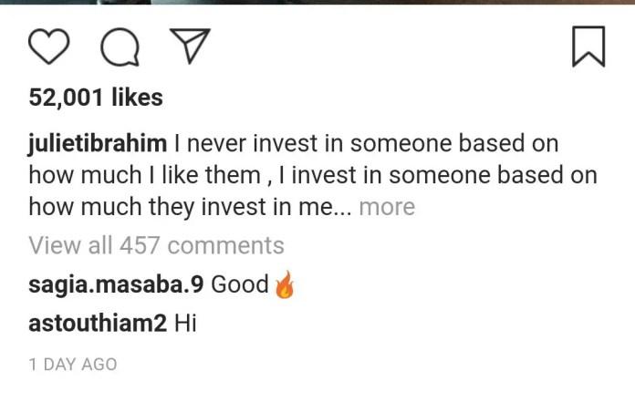 Juliet Ibrahim sends Deep Message to her Potential Lovers 1