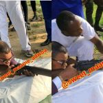 Photos Of Bishop Obinim Being Taught How To Shoot A Gun By Soldiers Hit Social Media