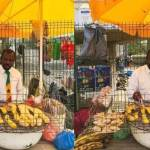 Meet the First Class KNUST graduate who sells roasted plantain on the streets dressed in a suit and tie