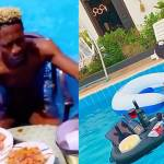 Bisa Kdei challenges Shatta Wale as he enjoys lunch in a pool in his mansion (+Video)