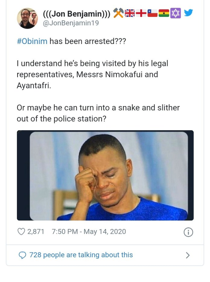 """You can turn in to snake and slither your way out of prison"" - Jon Benjamin Mocks Obinim 2"