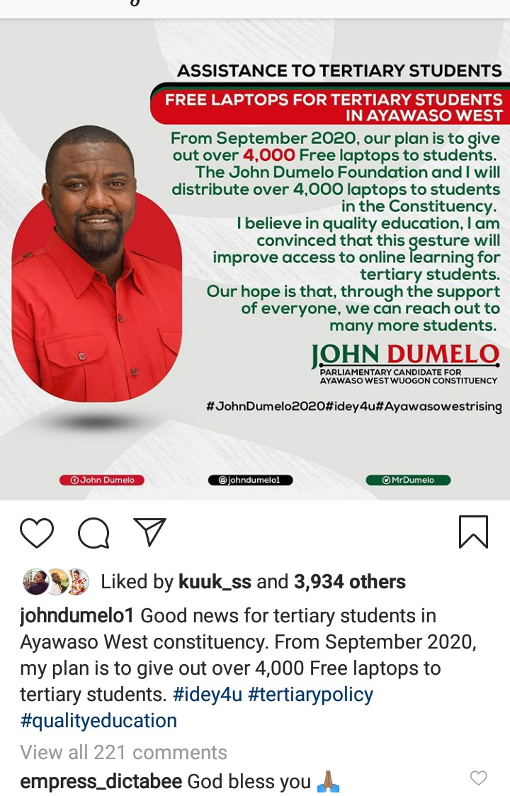 John Dumelo fulfils promise; begins to give out 4,000 laptops to selected tertiary students in constituency 1